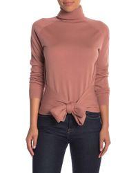 Kendall + Kylie - Tie Waist Turtleneck Long Sleeve Shirt - Lyst