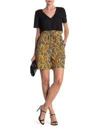 Walter Baker Mia Printed Paperbag Shorts - Yellow