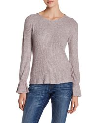Lucky Brand | Tie Sleeve Ribbed Pullover | Lyst