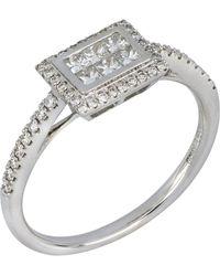 Bony Levy 18k White Gold Square Invisible Diamond Ring - 0.41 Ctw - Size 6.5 - Metallic
