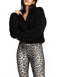 GOOD AMERICAN High Pile Fleece Pullover - Black
