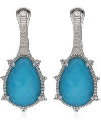 Judith Ripka Sterling Silver Amalfi Small Pear Stone Earrings - Blue