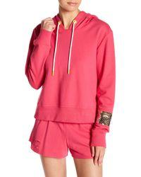 Sam Edelman Sequined Sleeve Pullover Hoodie - Pink