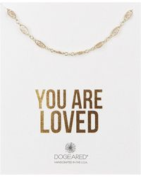 Dogeared - 14k Yellow Gold Vermeil 'you Are Loved' Delicate Filigree Link Choker Necklace - Lyst