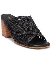 Kaanas Hydra Leather Fishnet Cross-strap Block Heel Sandal - Black