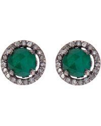 Adornia Sterling Silver Echo Emerald & Champagne Diamond Halo Stud Earrings - Green