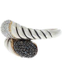 Effy Sterling Silver & 18k Yellow Gold Pave Diamond & Black Diamond Ring - Size 7 - 0.42 Ctw