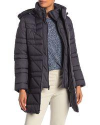 Anne Klein Double Zip Puffer Jacket - Gray
