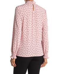 Adrianna Papell Polka Dot Mock Neck Long Sleeve Crepe Top - Pink