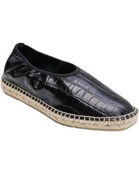 Andre Assous Laurel Embossed Leather Espadrille Flat - Black