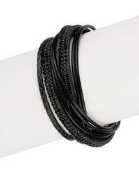 Saachi - Black Urban Wrap Genuine Leather Bracelet - Lyst