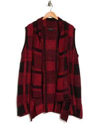 Joseph A Plaid Drape Collar Vest - Red