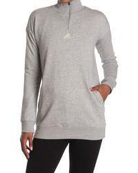 adidas Comfort Quarter Zip Pullover Sweatshirt - Gray