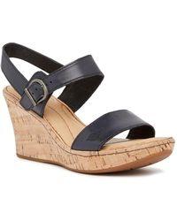 8d92d0cc6bd Lyst - Born Boulder Platform Wedge Leather Sandal in Brown