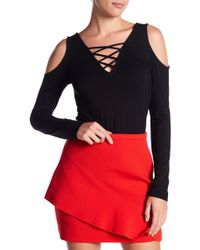 Fifteen Twenty - Strappy Front Cold Shoulder Tee - Lyst