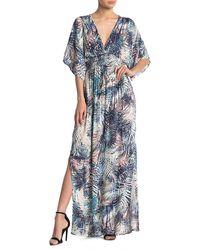 Love Stitch Kimono Sleeve Leaf Print Gauze Maxi Dress - Blue