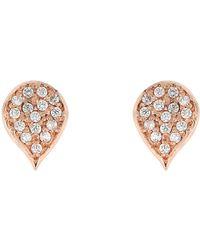 Bony Levy - 18k Rose Gold Diamond Leaf Stud Earrings - 0.12 Ctw - Lyst