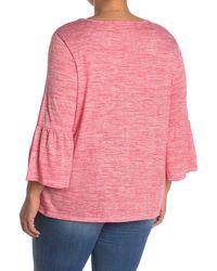 Ruby Rd. Bell Sleeve Stripe Top - Pink