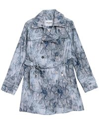 Guess Snake-embossed Double-breasted Water-resistant Trench Coat - Blue