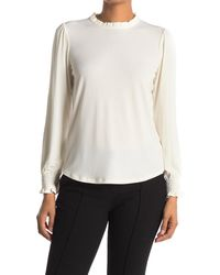 Adrianna Papell Solid Ruffle Mock Neck Long Sleeve Top - White