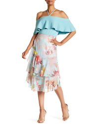 Vince Camuto - Faded Blooms Tiered Ruffle Skirt - Lyst