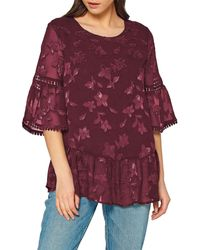 Pleione Picot Edge Charmeuse Blouse - Purple