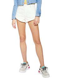 TOPSHOP Roll Hem Kiri Shorts - White