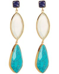 Argento Vivo - 18k Gold Plated Sterling Silver Stone Triple Drop Earrings - Lyst