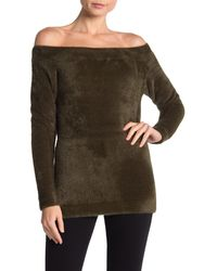 Love Token - Off-the-shoulder Fuzzy Knit Sweater - Lyst