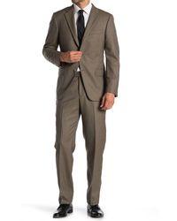 Hickey Freeman Tan Houndstooth Two Button Notch Lapel Suit - Brown