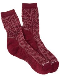 Smartwool Lilypond Pointelle Crew Socks - Red
