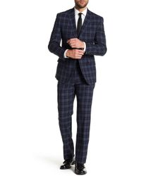 English Laundry - Navy Tartan Two Button Notch Lapel Wool Suit - Lyst