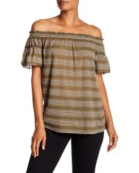 Max Studio - Off-the-shoulder Stripe Embroidered Blouse - Lyst