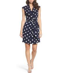 e5e422ea6628 Eliza J - Polka Dot Jersey Faux Wrap Dress - Lyst