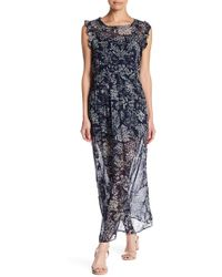Blush Noir - Sleeveless Ruffle Trim Floral Print Maxi Dress - Lyst