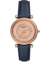 Fossil Women's Carlie Leather Strap Watch, 35mm - Blue