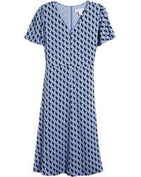 Nordstrom Flutter Sleeve Stretch Silk Dress - Blue