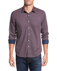 JEFF Irvine Ls Houndstooth Slim Shirt - Purple