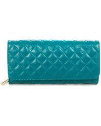 Zenith Quilted Leather Clutch - Blue