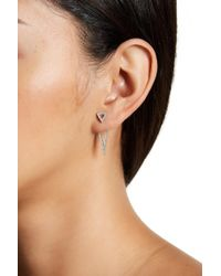 Adornia - Sterling Silver Swarovski Crystal Accented Double Triangle Post Earrings - Lyst