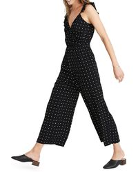 Madewell Ruffle Front Wrap Jumpsuit In Grid Dot - Black