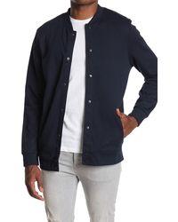 7 Diamonds Nolan Snap Button Sweatshirt Jacket - Blue