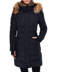 S13/nyc Uptown Matte Water Repellent Quilted Coat With Faux Fur Trim - Black