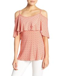 Go Couture - Cold Shoulder Printed Top - Lyst