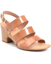 Born Fulda Leather Strappy Block Heel Sandal - Brown