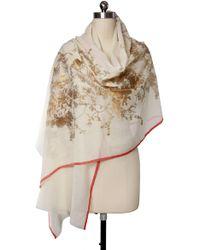 Saachi - Ivory Gold Metallic Foil Garden Wool Wrap - Lyst