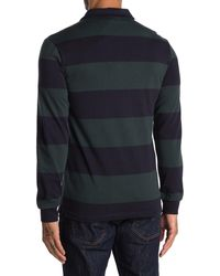 Slate & Stone Rugby Stripe Long Sleeve Polo - Blue