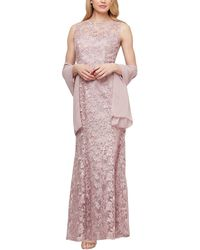 Ignite Embroidered Lace Gown With Shawl - Pink