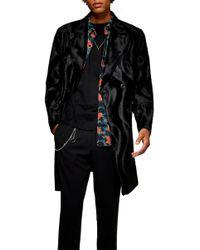 TOPMAN Faux Ponyhair Overcoat - Black