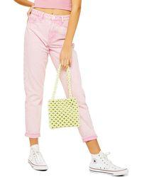 TOPSHOP Acid Roll Hem Mom Jeans - Pink